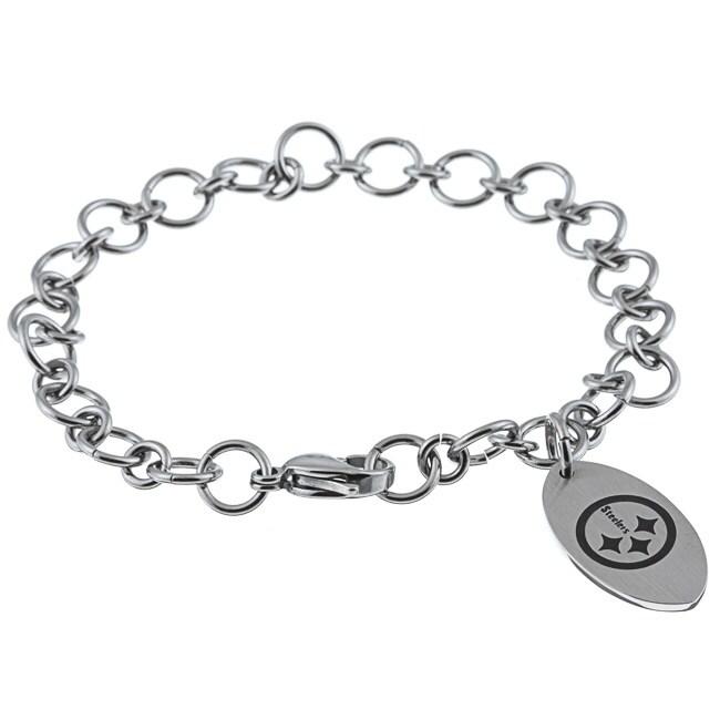 Stainless Steel Pittsburgh Steelers Charm Bracelet