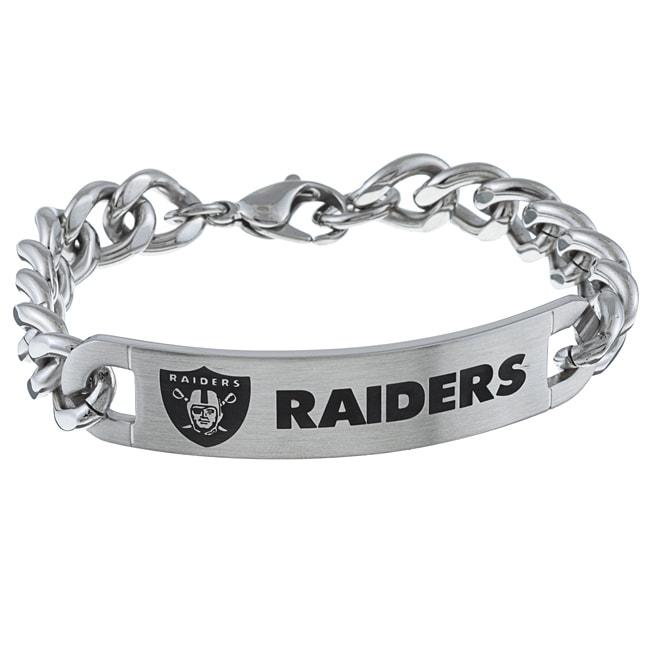 Stainless Steel Oakland Raiders Link Bracelet
