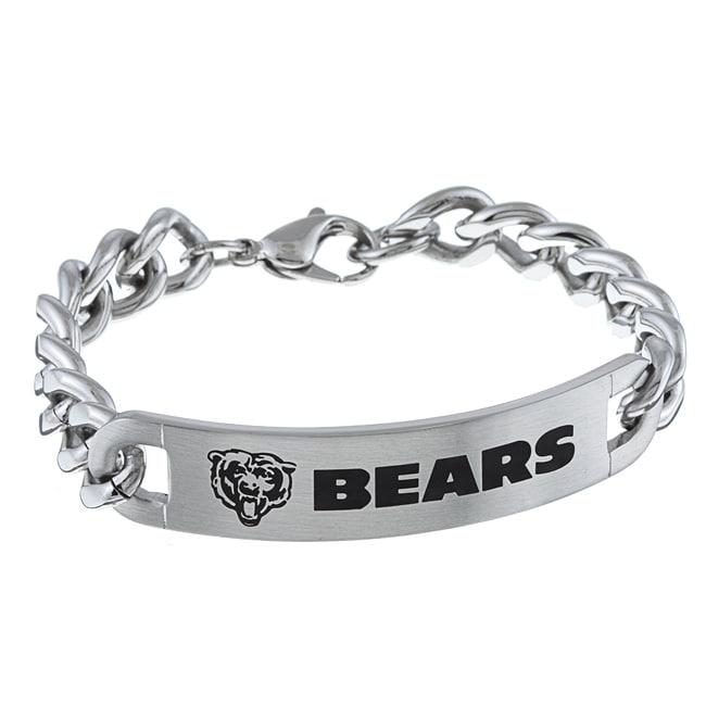 Stainless Steel Chicago Bears Link Bracelet