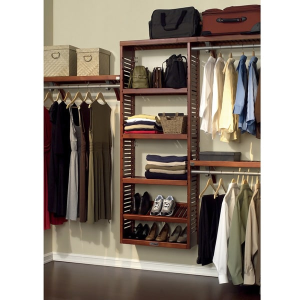 John Louis Home Collection Premier 12 Inch Deep Red Mahogany Closet System    Free Shipping Today   Overstock.com   13399055