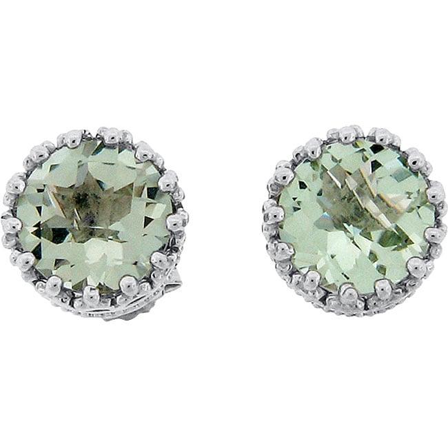 Meredith Leigh Sterling Silver Crown Set Green Amethyst Stud Earrings