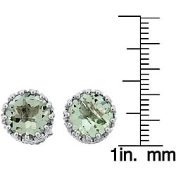 Meredith Leigh Sterling Silver Crown-set Green Amethyst Stud Earrings - Thumbnail 2
