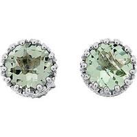 Meredith Leigh Sterling Silver Crown-set Green Amethyst Stud Earrings