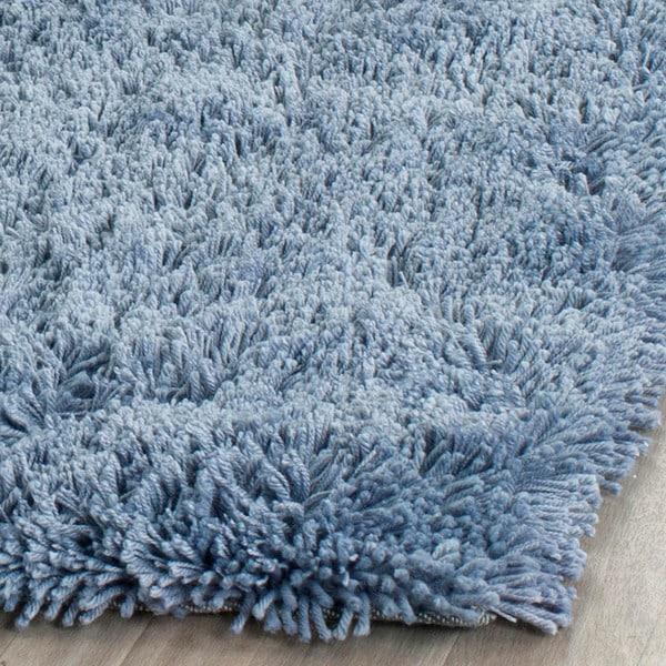 safavieh classic ultra handmade light blue shag rug (7'6 x 9'6