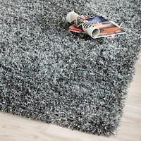 Safavieh Handmade Malibu Shag Charcoal Grey Polyester Runner (2'6 x 4') - 2'6 x 4'