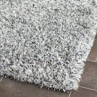 Safavieh Handmade Malibu Shag Silver Polyester Runner Rug - 2'6 x 4'