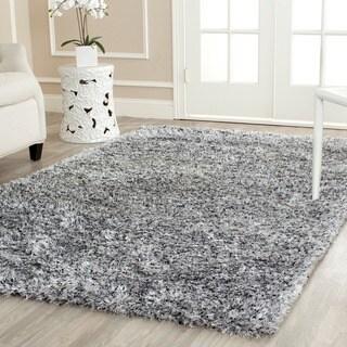 Safavieh Handmade Malibu Shag Silver Polyester Rug (5' x 8')
