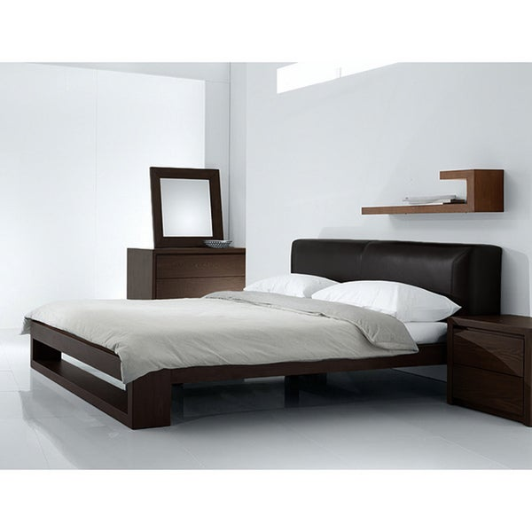 Fenton modern dark brown queen platform bed free Modern platform beds