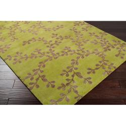 Hand-tufted Painterly Lime Wool Rug (3'3 x 5'3) - Thumbnail 1