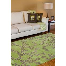 Hand-tufted Painterly Lime Wool Rug (3'3 x 5'3) - Thumbnail 2