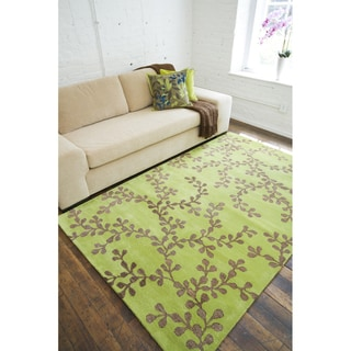 Hand-tufted Painterly Lime Wool Rug (5' x 8')