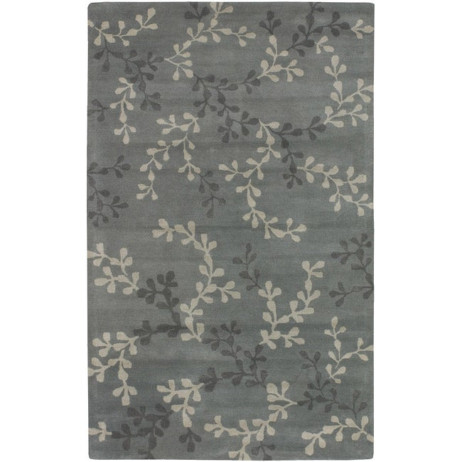 Hand-tufted Painterly Grey Wool Rug (5' x 8')