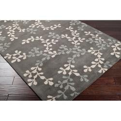Hand-tufted Painterly Grey Wool Rug (5' x 8') - Thumbnail 1