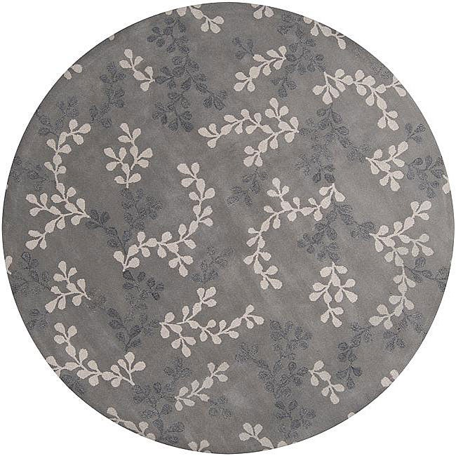 Hand Tufted Painterly Grey Wool Area Rug 8 Round Free