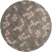 Hand-tufted Painterly Grey Wool Area Rug - 8' x 8'