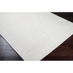 Hand-tufted Solid White Plush Painterly Wool Rug (2'6 x 8') - Thumbnail 1