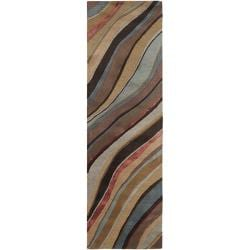 Hand-tufted Contemporary Multi Colored Striped Painterly New Zealand Wool Abstract Rug (2'6 x 8')