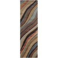 Palm Canyon Nile Hand-tufted Contemporary Multi Colored Striped Painterly New Zealand Wool Abstract Area Rug - 2'6 x 8