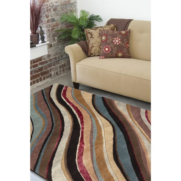 Palm Canyon Nile Hand-tufted Contemporary Multi Colored Striped Painterly New Zealand Wool Abstract Area Rug - 8' x 11