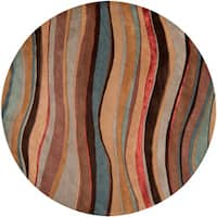 Hand-tufted Contemporary Multi Colored Striped Painterly New Zealand Wool Abstract Area Rug (8' Round)