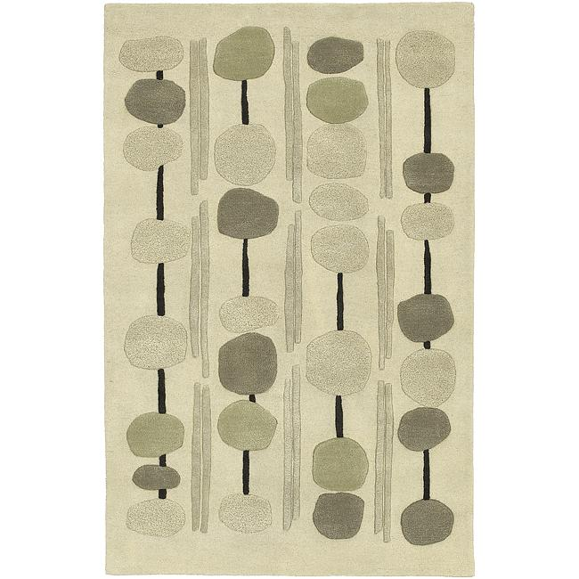 Hand-tufted Contemporary Beige Circles Painterly New Zealand Wool Abstract Rug (3'3 x 5'3)