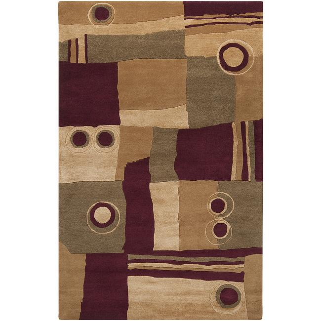 Hand-tufted Contemporary Painterly Burgundy New Zealand Wool Abstract Rug (9' x 13')