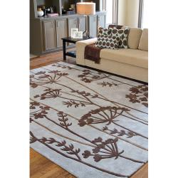 Hand-tufted Retro Chic Grey Floral Rug (8' Round)