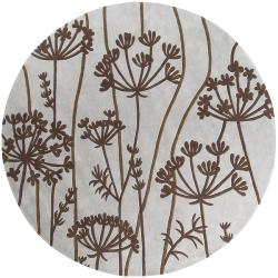 Hand Tufted Retro Chic Grey Floral Rug 8 Round Free