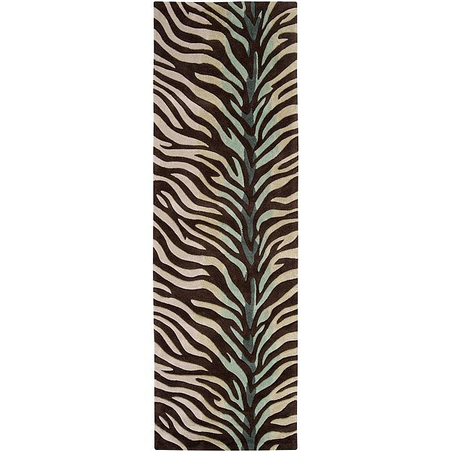Hand-tufted Brown/Blue Zebra Animal Print Retro Chic Rug