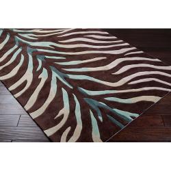 Hand-tufted Brown/Blue Zebra Animal Print Retro Chic Rug (2'6 x 8')