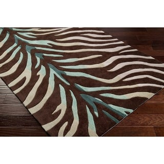 Hand-tufted Brown/Blue Zebra Animal Print Retro Chic Area Rug - 26 x 8 Runner (26 x 8 Runner - Brown)
