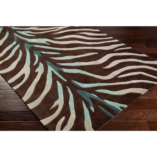 Hand Tufted Brown Blue Zebra Animal Print Retro Chic Area Rug 2 6 X 8 Runner