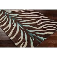 Hand-tufted Brown/Blue Zebra Animal Print Retro Chic Area Rug - 2'6 x 8'