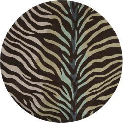 Hand-tufted Brown/Blue Zebra Animal Print Retro Chic Rug (8' Round)