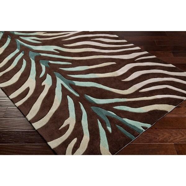 Shop Hand-tufted Brown/Blue Zebra Animal Print Retro Chic