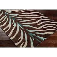 Hand-tufted Brown/Blue Zebra Animal Print Retro Chic Area Rug - 8' Round