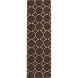 Hand-tufted Contemporary Brown Retro Chic Brown Geometric Abstract Rug (2'6 x 8')