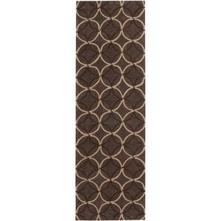 """Hand-tufted Contemporary Brown Retro Chic Brown Geometric Abstract Area Rug - 2'6"""" x 8' Runner"""