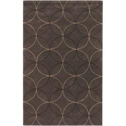 Hand-tufted Contemporary Brown Retro Chic Brown Geometric Abstract Rug (3'6 x 5'6)