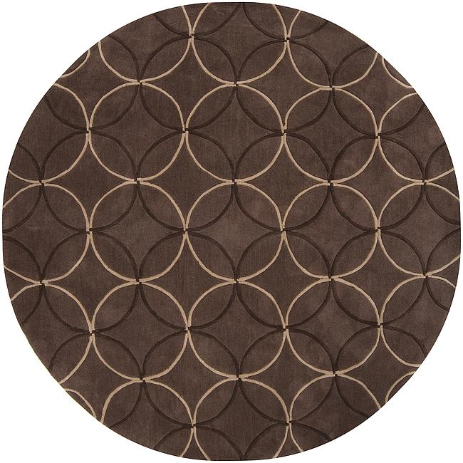 Hand-tufted Contemporary Brown Retro Chic Brown Geometric Abstract Rug (8' Round)