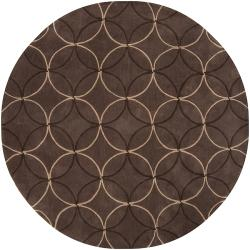 Hand-tufted Contemporary Brown Retro Chic Brown Geometric Abstract Rug (8' Round) - Thumbnail 2
