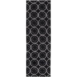 Hand-tufted Contemporary Retro Chic Green Black Geometric Abstract Rug (2'6 x 8')