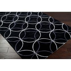 Hand-tufted Contemporary Retro Chic Green Black Geometric Abstract Rug (8' Round) - Thumbnail 1