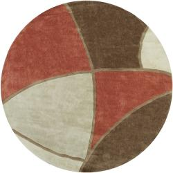 Hand-tufted Contemporary Retro Chic Green Brown/Red Floral Abstract Rug (8' Round)