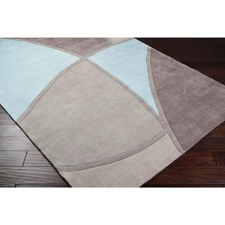 "Hand-tufted Contemporary Retro Chic Green Grey/Blue Abstract Area Rug - 2'6"" x 8' Runner"