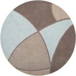 Hand-tufted Contemporary Retro Chic Green Grey/Blue Abstract Rug (8' Round)