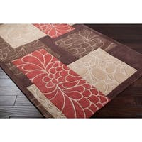 Hand-tufted Retro Chic Brown Floral Squares Area Rug - 2'6 x 8'