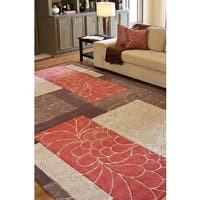 Hand-tufted Retro Chic Brown Floral Squares Area Rug - 3'6 x 5'6