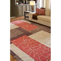 Hand-tufted Retro Chic Brown Floral Squares Rug (8' Round) - Thumbnail 2