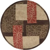 Hand-tufted Retro Chic Brown Floral Squares Area Rug (8' Round) - 8' x 8'